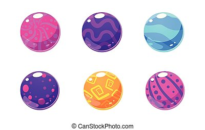 Collection of glossy balls, colorful spheres, user interface assets for mobile apps or video games vector Illustration