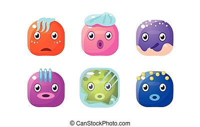 Collection of glossy buttons, colorful cubes with funny faces, user interface assets for mobile apps or video games vector Illustration