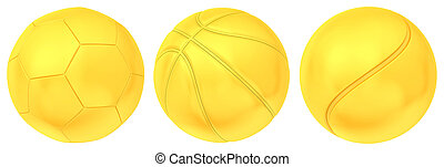 Collection of gold balls isolated on white background