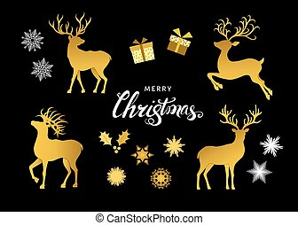 Collection of gold Christmas decorative design elements.