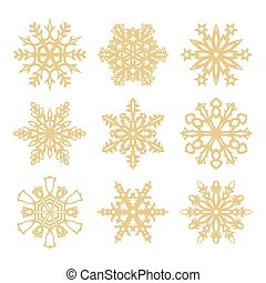 Collection of gold snowflakes icons