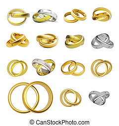 Collection of gold wedding rings isolated on white...