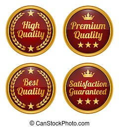 Collection of golden and red badges.