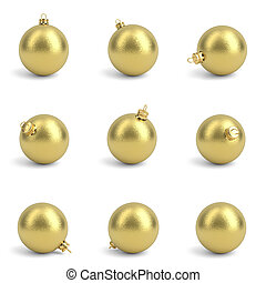Collection of golden christmas balls. White isolated. 3D render