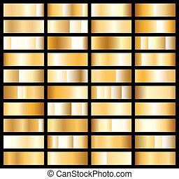 Collection of golden metallic gradient. Brilliant plates with gold effect. Vector illustration