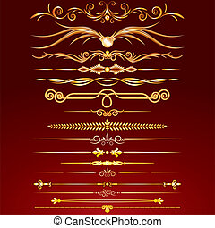 Collection of Golden Rule Lines. Vector Design Elements,...