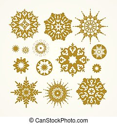 Collection of golden snowflakes on a white background, vector illustration