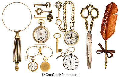 Collection of golden vintage accessories and antique objects