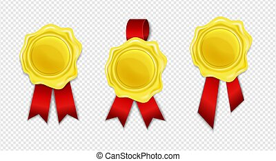 Collection of golden wax seal with red ribbon isolated on white background. Realistic round retro stamp for document, envelope, letter or banner. Concept of quality, guaranty mark. Vector illustration