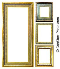 collection of golden wood photo image frame isolated on white ba