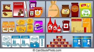 collection of goods - Various products on store shelves...
