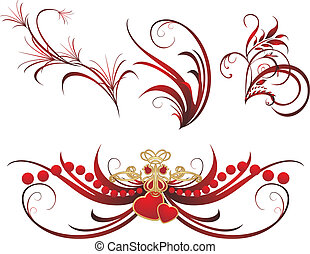 Collection of gothic ornaments on the white background....