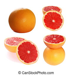 collection of grapefruit isolated on white background