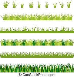 Collection of green grass, vector illustration