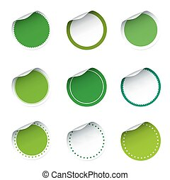 Collection of green stickers
