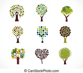 Collection of green tree - logos and icons - Collection of...