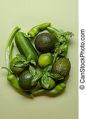 collection of green vegetables on green background