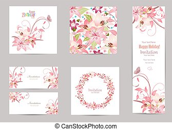 collection of greeting cards with blossom lilies for your design