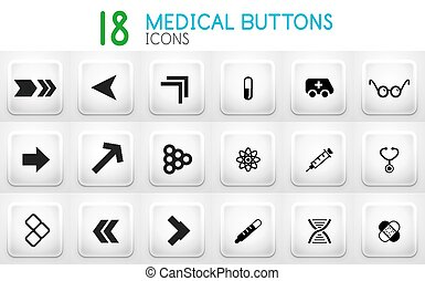 Collection of grey internet push button with icons
