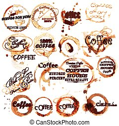 Collection of grunge brown coffee labels create from coffee cup spots with signatures.eps