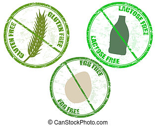diet stamps - Collection of grunge diet stamps (gluten free...