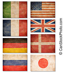 Collection of grunge flags: USA, Great Britain, Italy, France, Denmark, Germany, Russia, Japan