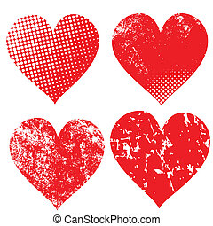 Collection of grunge hearts