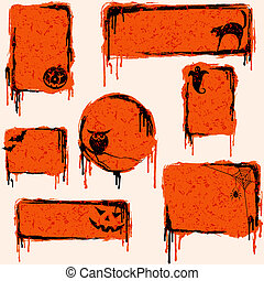 Collection of grungy halloween design elements - 7 orange,...