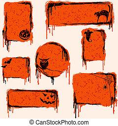 Collection of grungy halloween design elements - 7 orange,...