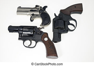Collection of guns, with revolvers from pocket in black and...