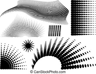halftone elements - Collection of halftone elements in black...