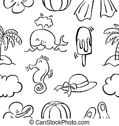 Collection of hand draw summer doodles
