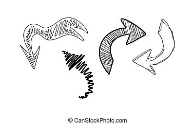 Collection of hand drawn arrows vector Illustration on a white background