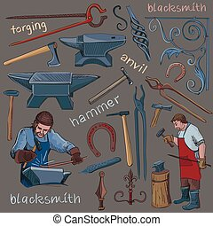 Collection of hand drawn blacksmith icons, such as...