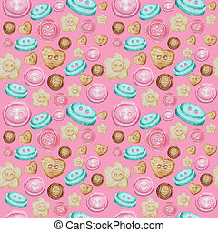 Collection of hand drawn buttons on pink background. Watercolor Seamless pattern Hobby Knitting, Crocheting and Sewing.