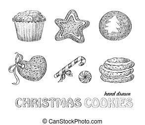 Christmas cookies - Collection of hand drawn Christmas...
