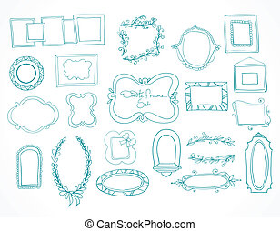 Collection of hand drawn doodle frames and design elements ...