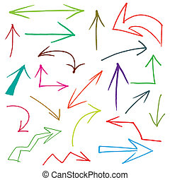 Collection of hand drawn doodle style arrows in various...