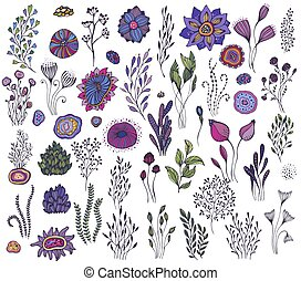 Collection of hand drawn fantasy nature elements, flowers, plants, branches.