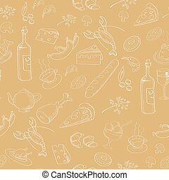 Collection of hand-drawn food. Seamless pattern.