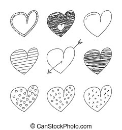 Collection of hand drawn hearts.