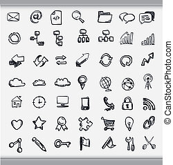 Collection of hand drawn icons representing a diversity of...