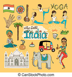 India Landmarks - Collection of hand-drawn India Landmarks...