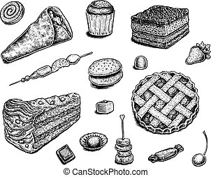 Collection of hand drawn ink desserts.