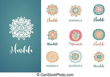 collection of hand drawn mandalas, shapes and symbols