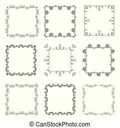 Collection of hand drawn ornamental square frames