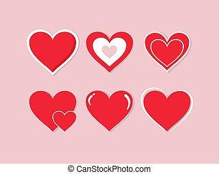 Collection of hand drawn red hearts on a pink background. Symbol of love and care. Six beautiful different styles. Suitable for any style. Isolated easy to edit Flat Vector Illustration EPS 10