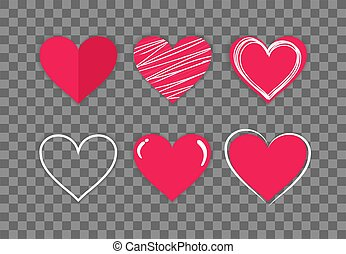 Collection of hand drawn red hearts on a transparent background. Symbol of love and care. Six beautiful different styles. Suitable for any style. Isolated easy to edit Flat Vector Illustration EPS 10