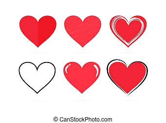 Collection of hand drawn red hearts on a white background. Symbol of love and care. Six beautiful different styles. Suitable for any style. Isolated easy to edit Flat Vector Illustration EPS 10