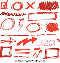 Collection of hand-drawn red pencil corrections elements